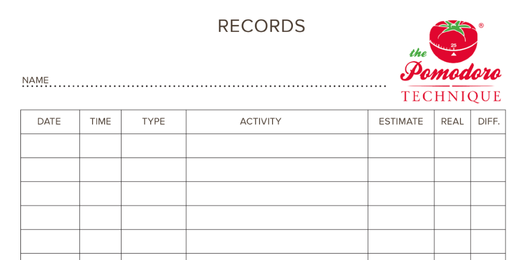 Pomodoro Technique Records Sheet Template
