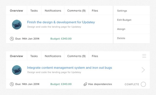 Updatey Project Management Milestones and Tasks